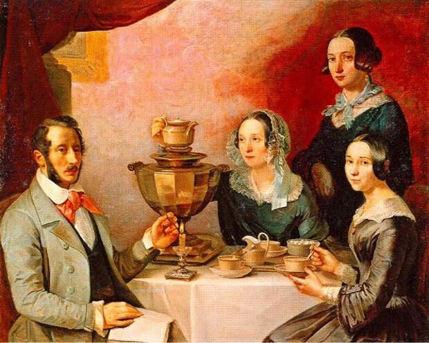 """Тимофей Мягков """"Семейство за чайным столом (Семейный портрет)"""", 1844г."""