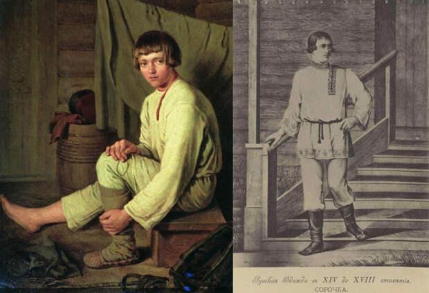 Венецианов А. Г. Крестьянский мальчик, надевающий лапти. Справа - гравюра с изображением русского традиционного костюма.