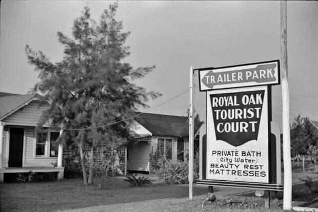 Туристическая стоянка - трейлерный парк и домики - возле Плант-Сити, Флорида, 1939 год