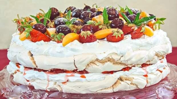 Торт-безе с вишней. Красивый десерт, идеально оформленный 4