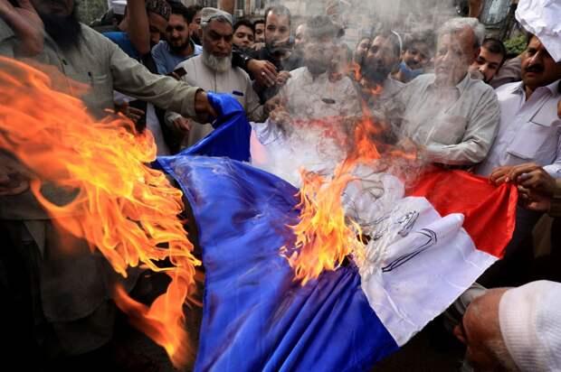 Мигранты жгут французский флаг