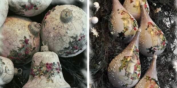 От елочных игрушек до бутылки шампанского: красивые идеи новогоднего декупажа
