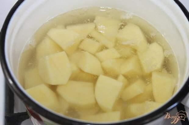 Фото приготовление рецепта: Картофельные ньокки с салом и луком шаг №1