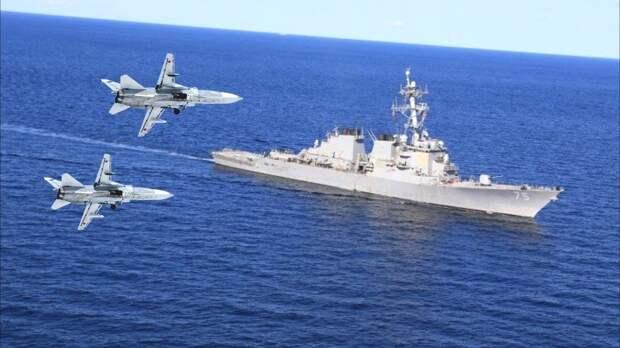 """Российские истребители успешно """"потопили"""" эсминец ВМС США в Черном море"""