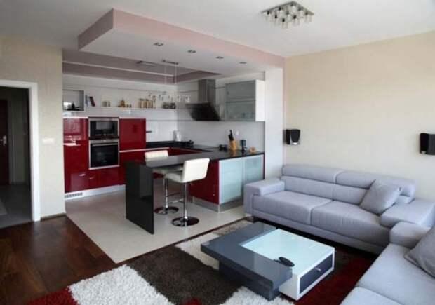 Кухня совмещенная с гостинной.