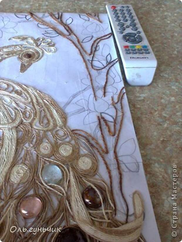Картина панно рисунок Мастер-класс Моделирование конструирование Филигранный павлин МК Шпагат фото 35