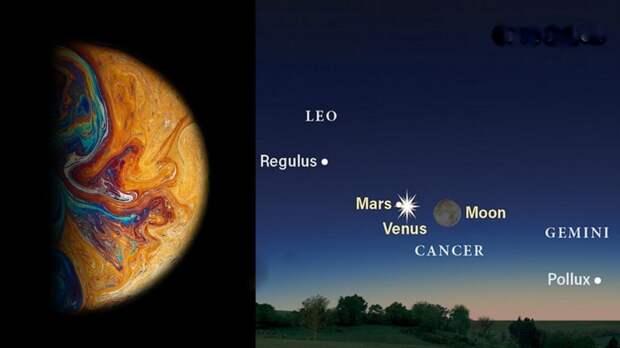 """_венера_марс-2-1024x576 Свидание космических """"супругов"""" — на этой неделе Венера и Марс встречаются в ночном небе"""