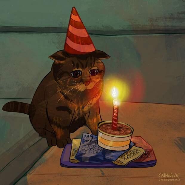 Грустный котик, как и все картинки девушки, стал очень популярен и в таком не только на фото, но и в исполнении художницы.