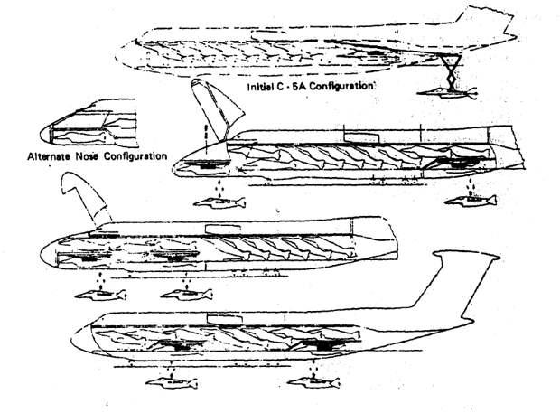 Различные варианты размещения рамп и самолётов на С-5 «Гэлакси» - Симбиоз небесных гигантов и карликов   Warspot.ru