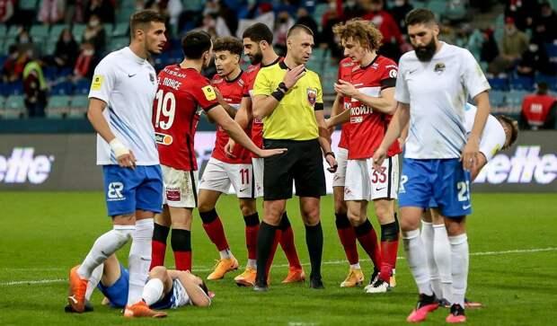 В РФС признали правильными решения судьи не назначать пенальти в пользу «Спартака» в матче с «Сочи»