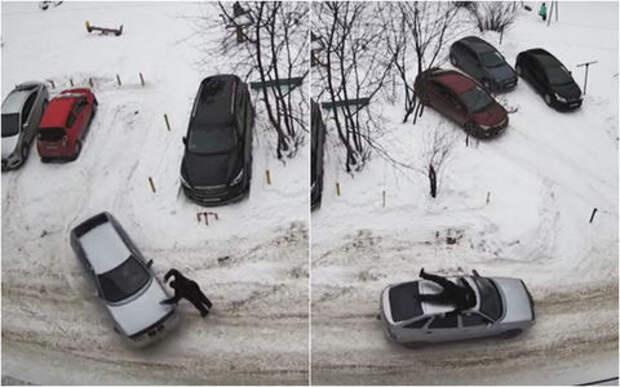Неадекват или вымогатель? Пешеход на ходу запрыгнул на крышу автомобиля