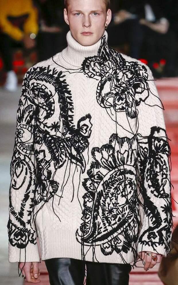 как переделать свитер сделать нарядным вышивкой