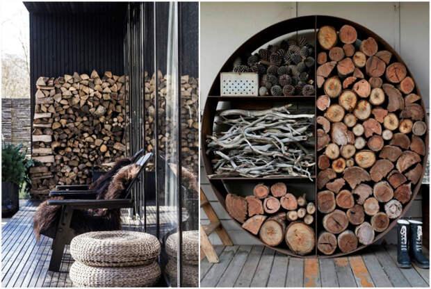 Хранение дров на участке.| Фото: Rmnt.ru.