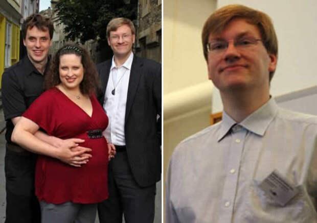 На левом фото - Ник Бостром с супругой и Андерс Сандберг