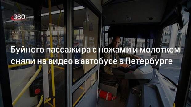 Появилось видео дебоша с ножами и молотком в петербургском автобусе