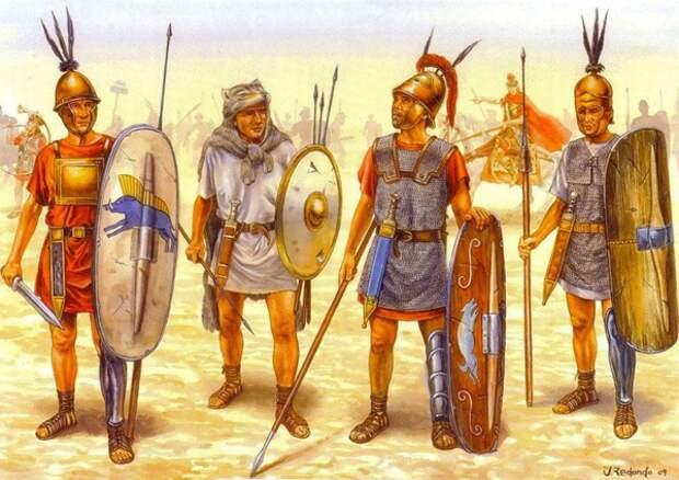 Ранний легион. Слева направо - гастат, велит, триарий и принцип.