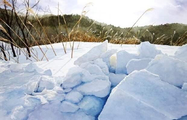 Какого цвета белый снег в зимних акварелях знаменитых художников-акварелистов Абе Тошиюки, Кена Марс