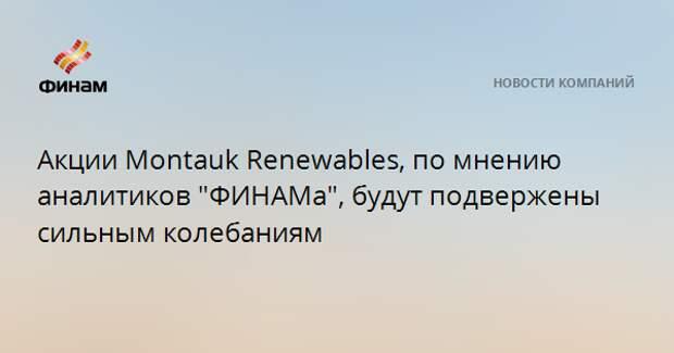 """Акции Montauk Renewables, по мнению аналитиков """"ФИНАМа"""", будут подвержены сильным колебаниям"""