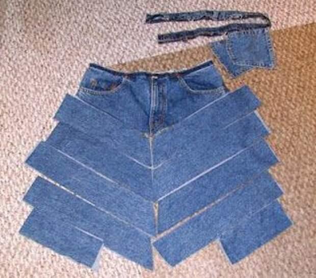 Юбки печворк из джинсов (подборка)