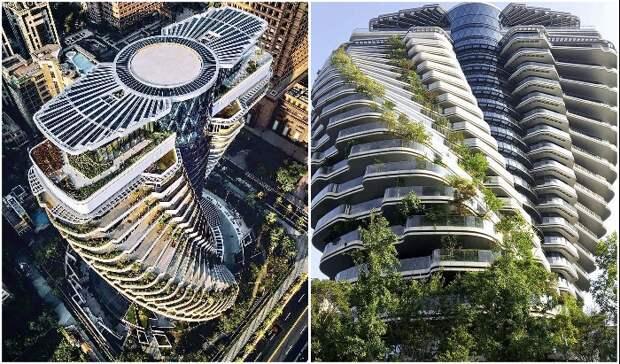 На Тайване подходит к завершению строительство углеродопоглощающей башни «Зеленой ДНК» (Тайбэй, Tao Zhu Yin Yuan).
