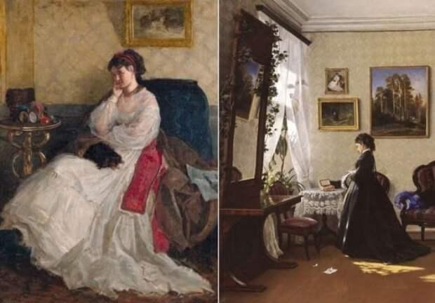 И. Шишкин изобразил свою жену на двух картинах: *Дама с собачкой*, 1868 и *Перед зеркалом. За чтением письма*, 1870 | Фото: artchive.ru