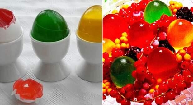 радужные желейные яйца
