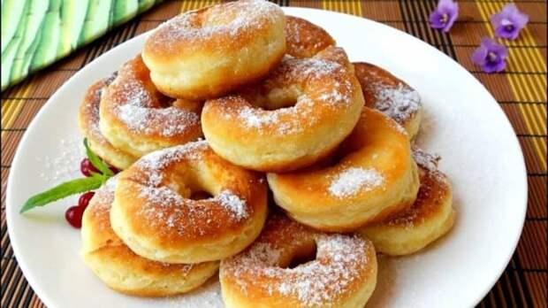 Кефирные пончики за 5 минут. Ароматная сладкая выпечка, детей за уши не оттащишь