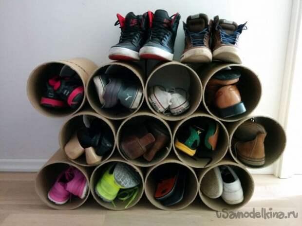 Полка для обуви из картонной трубы своими руками