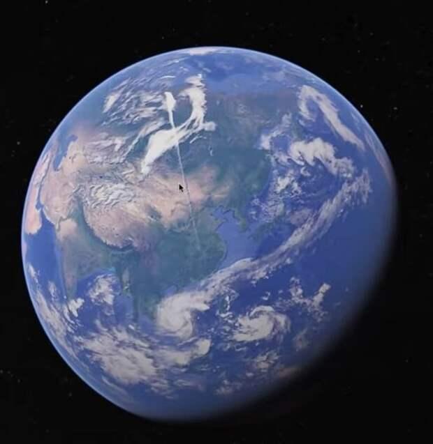Пользователь «Google Earth» обнаружил странный объект длиной около 5000 километров