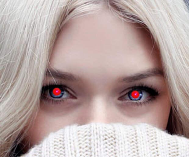 Как убрать эффект красных глаз на фото