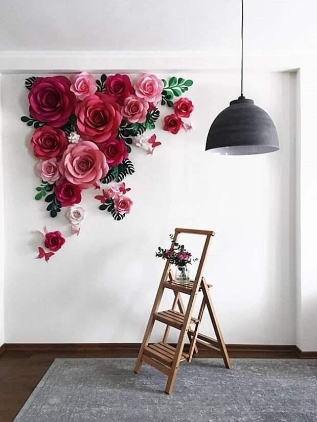 Впечатляющие гигантские цветы из бумаги для декора