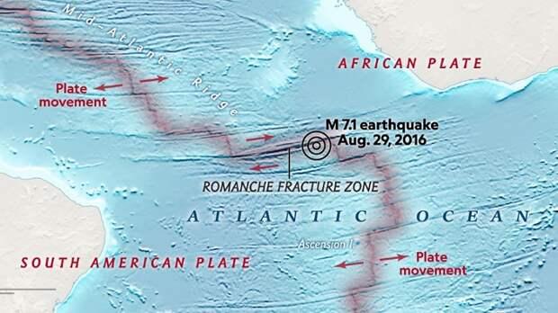 Землетрясение-«бумеранг» зафиксировано на дне Атлантики