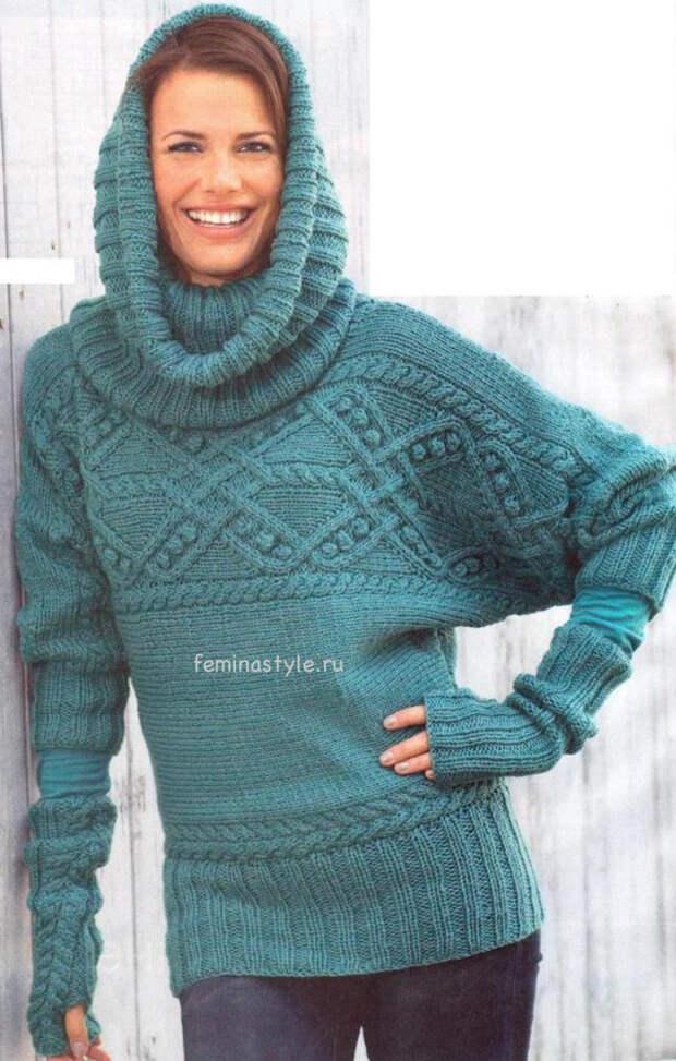 Вязание спицами пуловера вортника и митенок