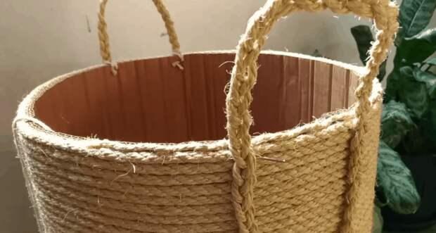 Бельевая корзина без шитья и плетения