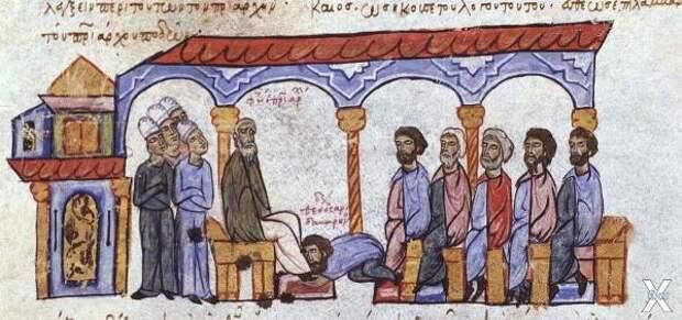 Монах Сандабарена у ног патриарха Фот...