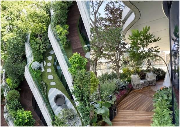 Зеленые зоны отдыха обустроены на каждом балконе и террасе (Тайбэй, Tao Zhu Yin Yuan).