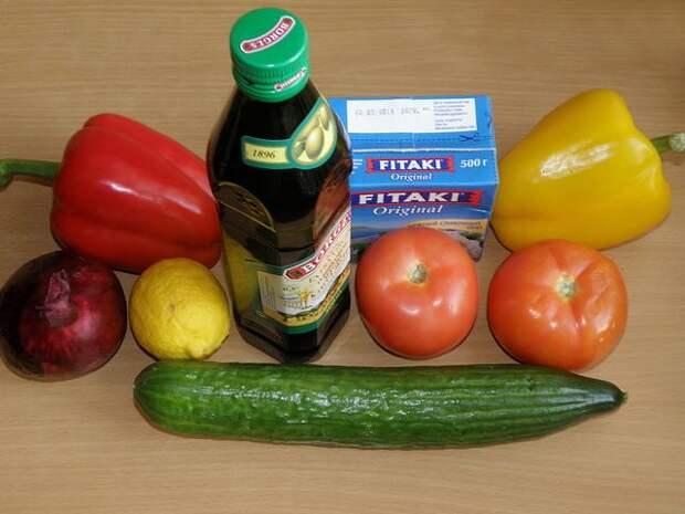 ингредиенты для салата. пошаговое фото этапа приготовления греческого салата
