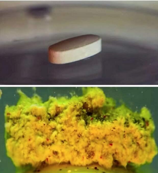 2. Так выглядит полурастворенная таблетка