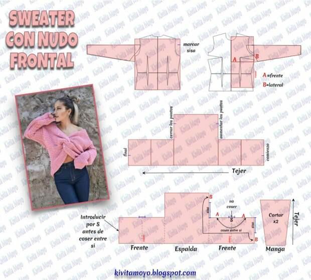 Выкройка свитера с перекрутом
