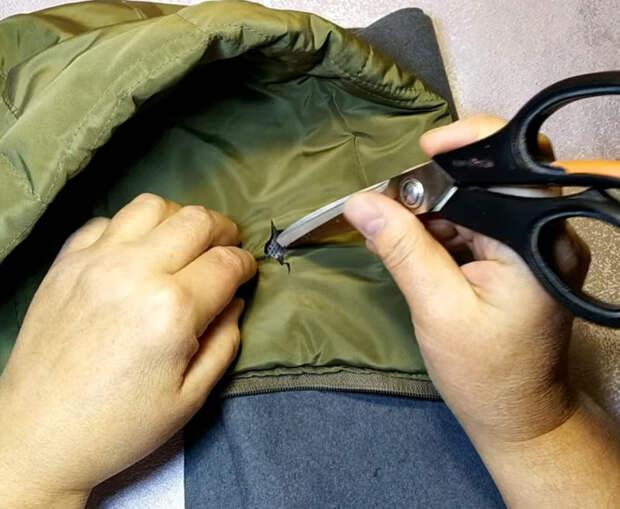 Полезный совет, как за несколько минут починить дырку на пуховике