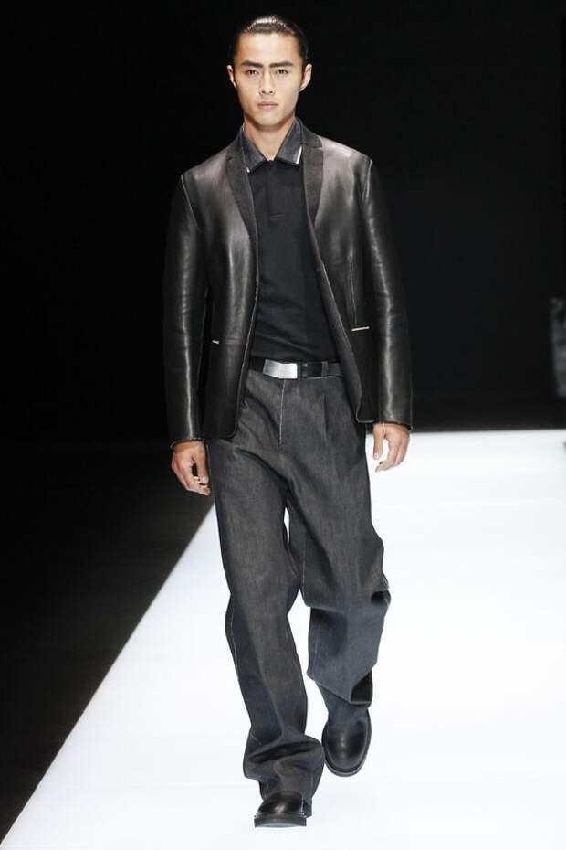 Emporio Armani черный кожаный пиджак