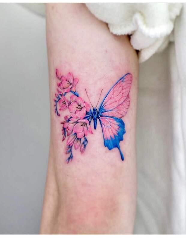 Татуировки цветочные бабочки (подборка)