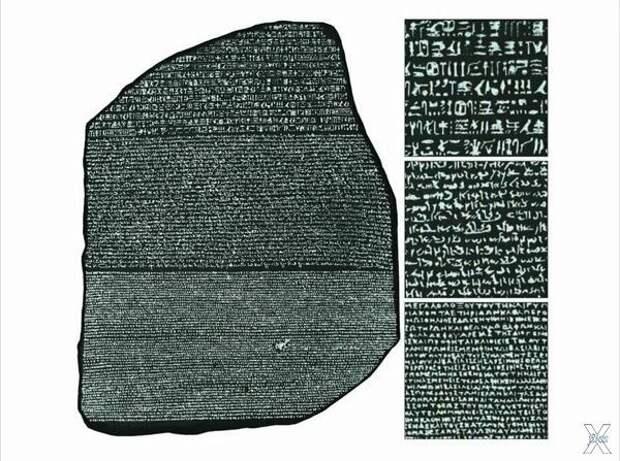 Розеттский камень, справа увеличенный...