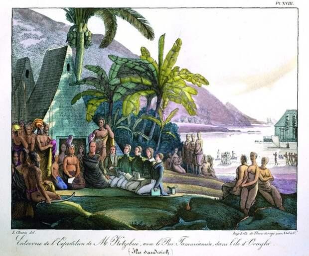Участники экспедиции лейтенанта Коцебу на встрече с королем Гавайев Камеамеа I