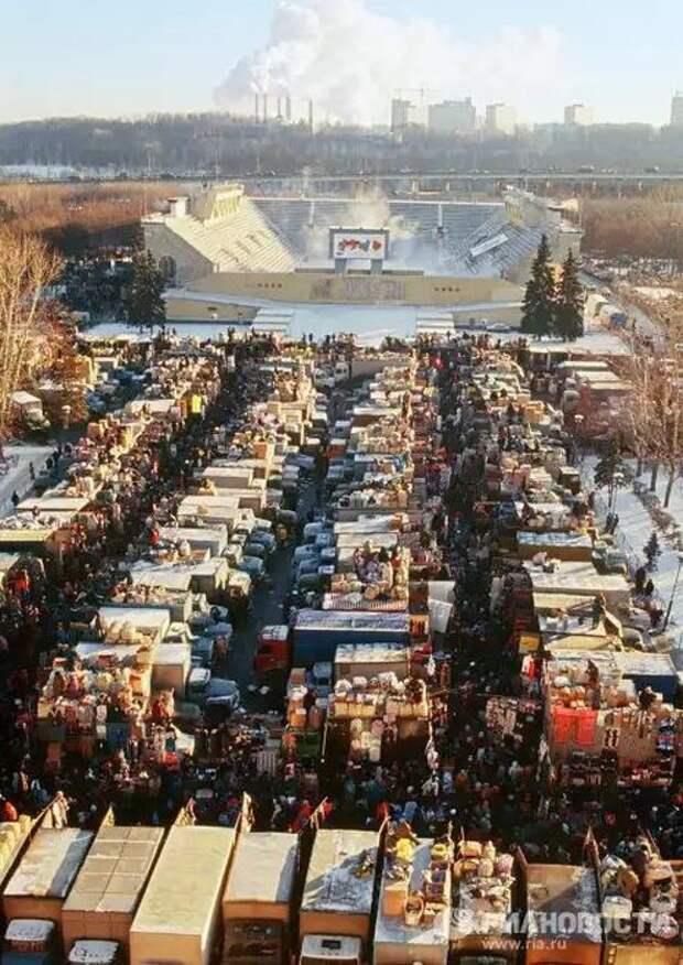 Рынок в Лужниках, 1996 СССР, прошлое, фото