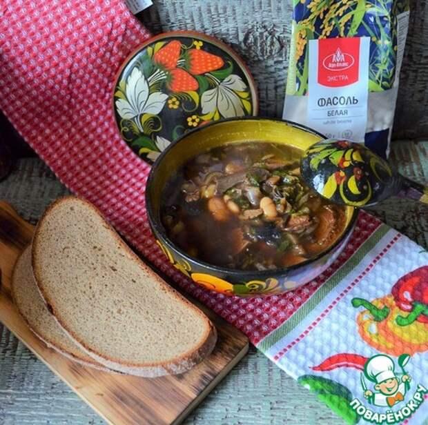 Суп фасолевый с сушёными грибами