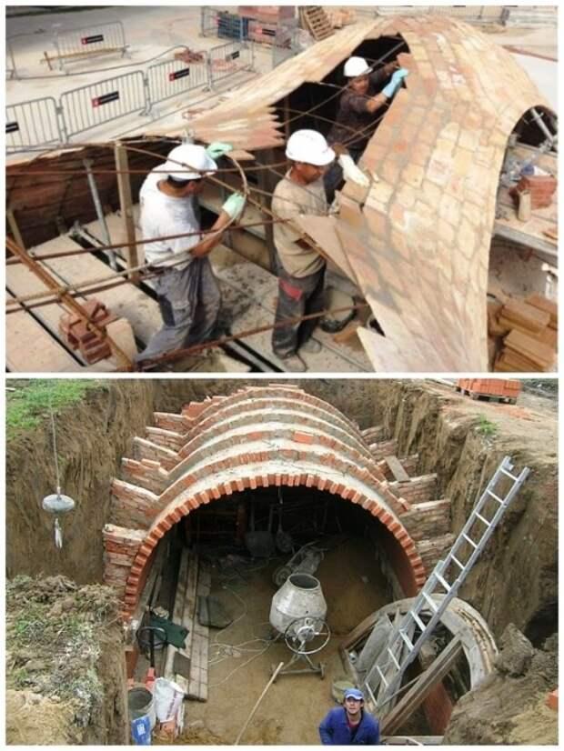 Все работы по кладке радиусных сооружений должны выполнять профессионалы.   Фото: pinterest.com.