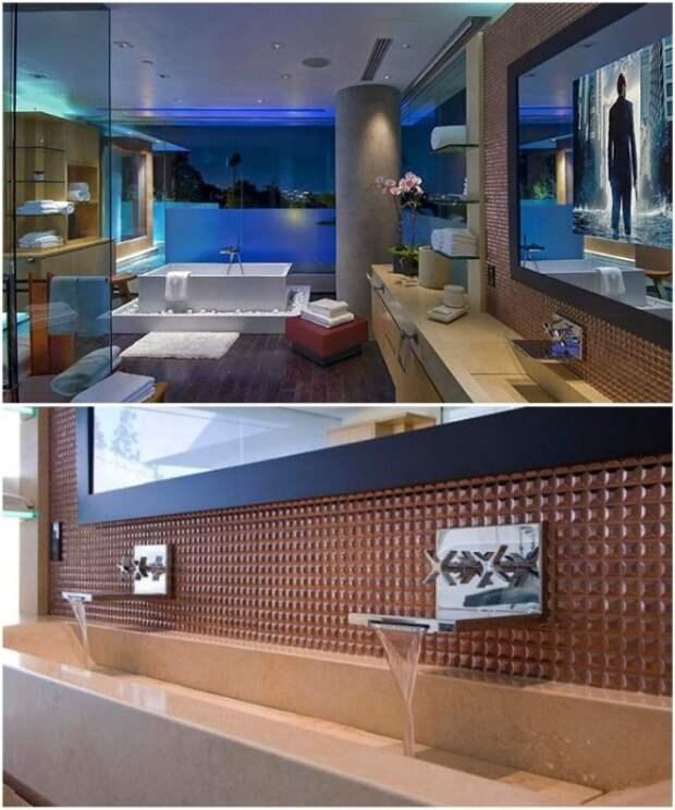 Практически все ванные комнаты оборудованы огромным окном, голубой подсветкой и большой плазмой (Xanadu 2.0). | Фото: comedyflavors.com.