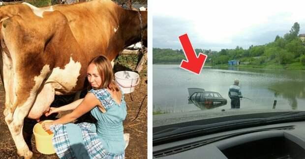 20 эпичных ситуаций, которые не могли бы произойти в Москве деревня, коровы, люди, прикол, провинция, село, трешак, юмор