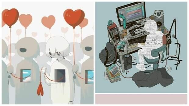 Грустные иллюстрации японского художника, которые заставят задуматься